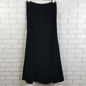 Vtg Velour Velvet Black Maxi Skirt 6-8